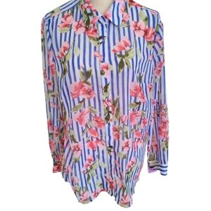 Talbots Striped Floral Long Sleeved Blouse - Sz XL